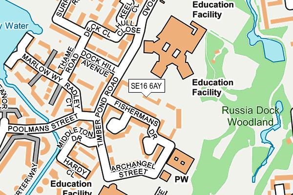 SE16 6AY map - OS OpenMap – Local (Ordnance Survey)