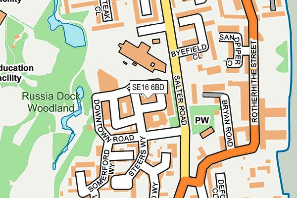 SE16 6BD map - OS OpenMap – Local (Ordnance Survey)