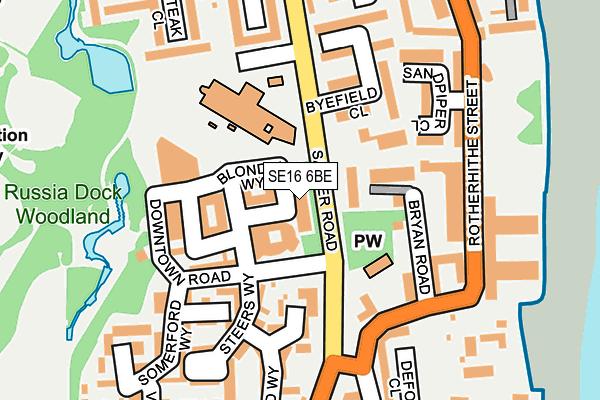 SE16 6BE map - OS OpenMap – Local (Ordnance Survey)