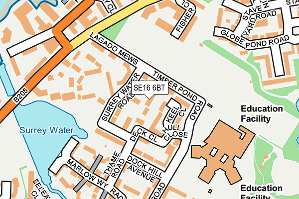 SE16 6BT map - OS OpenMap – Local (Ordnance Survey)
