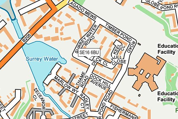 SE16 6BU map - OS OpenMap – Local (Ordnance Survey)