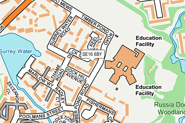SE16 6BY map - OS OpenMap – Local (Ordnance Survey)