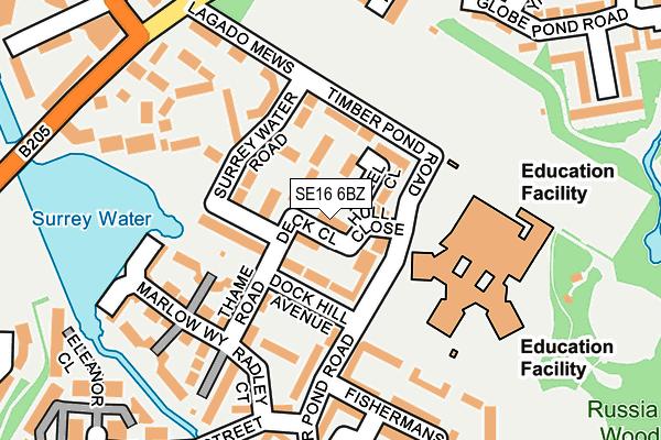 SE16 6BZ map - OS OpenMap – Local (Ordnance Survey)