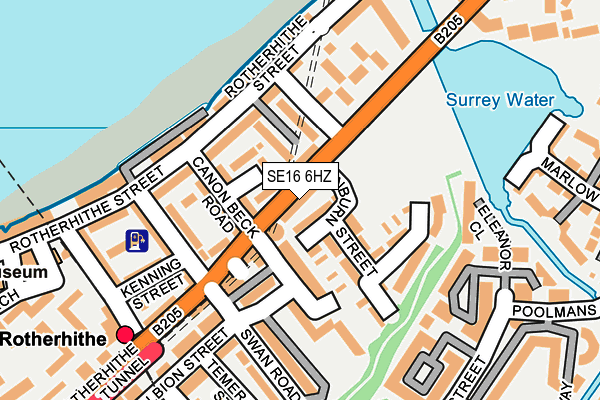 SE16 6HZ map - OS OpenMap – Local (Ordnance Survey)