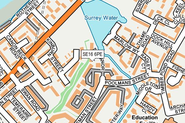 SE16 6PE map - OS OpenMap – Local (Ordnance Survey)