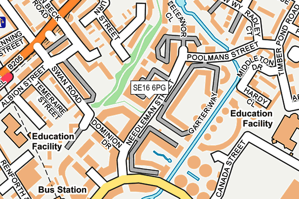 SE16 6PG map - OS OpenMap – Local (Ordnance Survey)