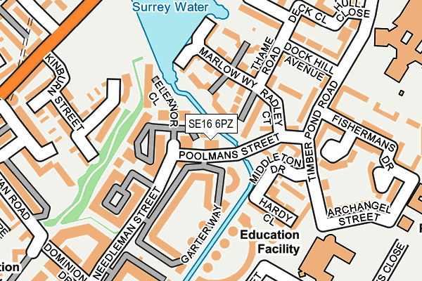 SE16 6PZ map - OS OpenMap – Local (Ordnance Survey)