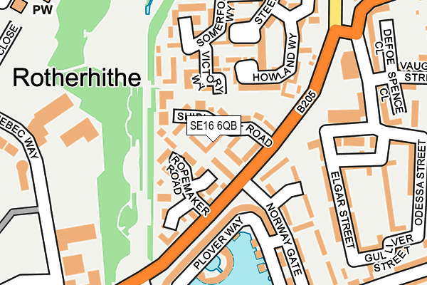 SE16 6QB map - OS OpenMap – Local (Ordnance Survey)