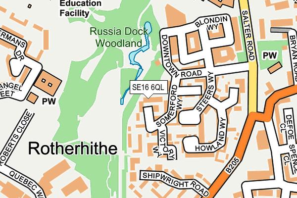 SE16 6QL map - OS OpenMap – Local (Ordnance Survey)