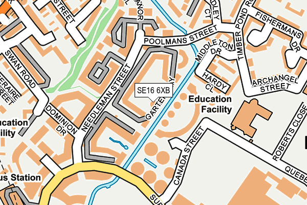 SE16 6XB map - OS OpenMap – Local (Ordnance Survey)