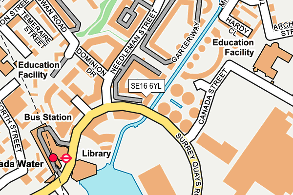 SE16 6YL map - OS OpenMap – Local (Ordnance Survey)