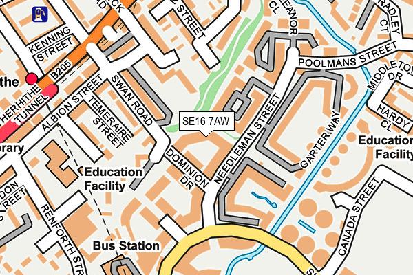SE16 7AW map - OS OpenMap – Local (Ordnance Survey)