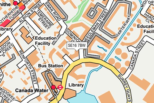 SE16 7BW map - OS OpenMap – Local (Ordnance Survey)