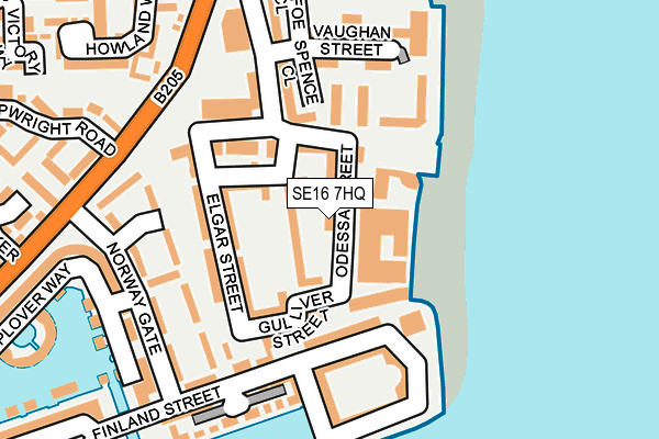 SE16 7HQ map - OS OpenMap – Local (Ordnance Survey)