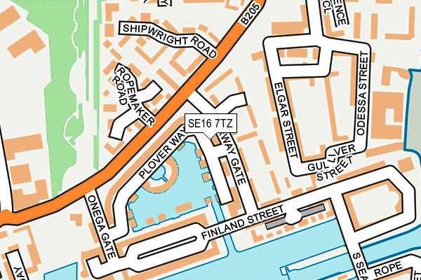 SE16 7TZ map - OS OpenMap – Local (Ordnance Survey)