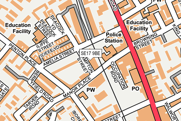 SE17 9BE map - OS OpenMap – Local (Ordnance Survey)