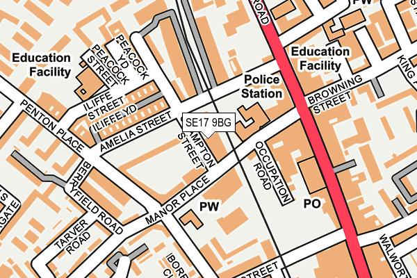 SE17 9BG map - OS OpenMap – Local (Ordnance Survey)