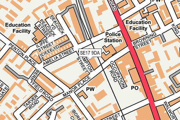 SE17 9DA map - OS OpenMap – Local (Ordnance Survey)