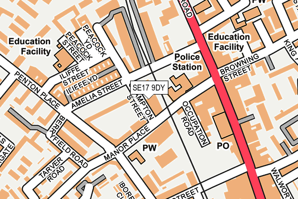 SE17 9DY map - OS OpenMap – Local (Ordnance Survey)
