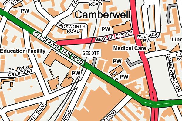 SE5 0TF map - OS OpenMap – Local (Ordnance Survey)