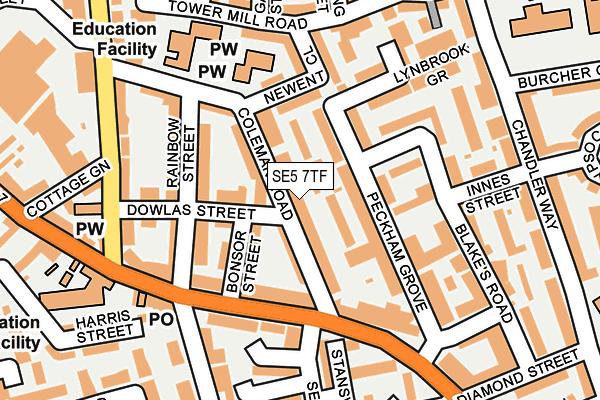 SE5 7TF map - OS OpenMap – Local (Ordnance Survey)
