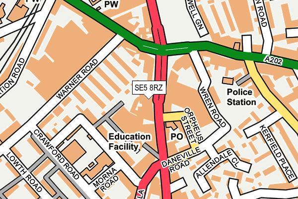 SE5 8RZ map - OS OpenMap – Local (Ordnance Survey)