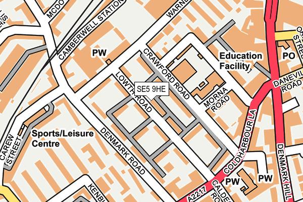 SE5 9HE map - OS OpenMap – Local (Ordnance Survey)