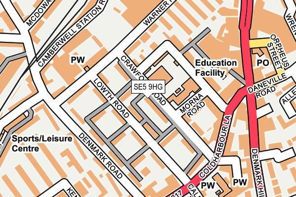 SE5 9HG map - OS OpenMap – Local (Ordnance Survey)