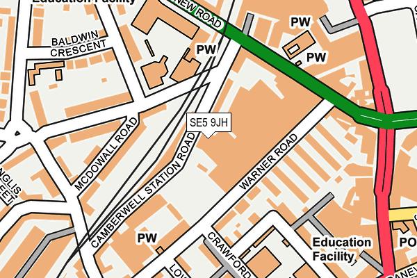 SE5 9JH map - OS OpenMap – Local (Ordnance Survey)