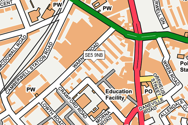SE5 9NB map - OS OpenMap – Local (Ordnance Survey)