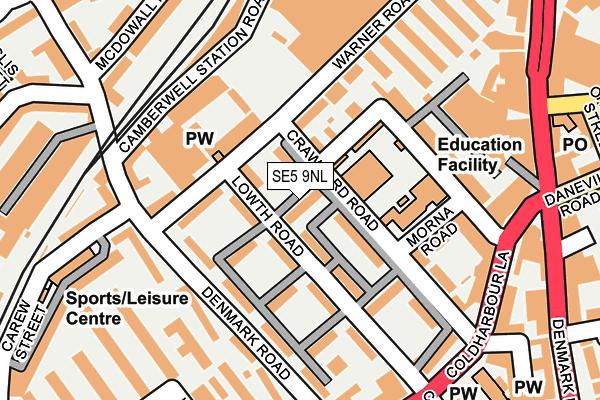 SE5 9NL map - OS OpenMap – Local (Ordnance Survey)