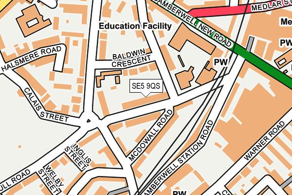 SE5 9QS map - OS OpenMap – Local (Ordnance Survey)