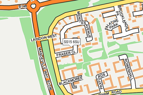 SS15 6SU map - OS OpenMap – Local (Ordnance Survey)