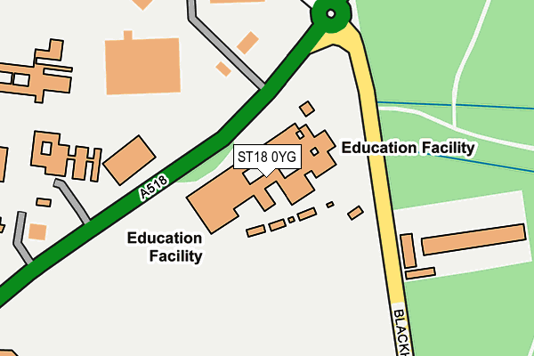 ST18 0YG map - OS OpenMap – Local (Ordnance Survey)
