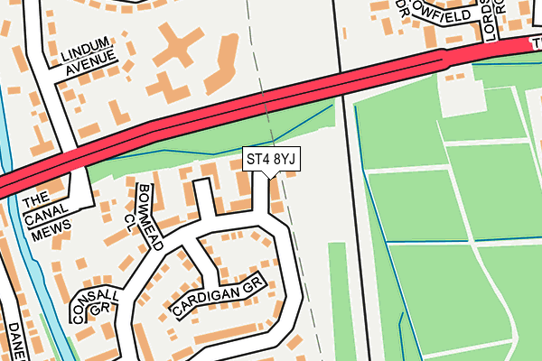ST4 8YJ map - OS OpenMap – Local (Ordnance Survey)