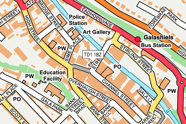TD1 1BZ map - OS OpenMap – Local (Ordnance Survey)