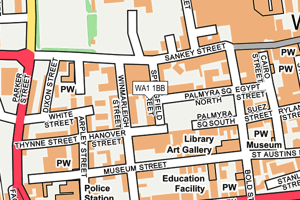 WA1 1BB map - OS OpenMap – Local (Ordnance Survey)
