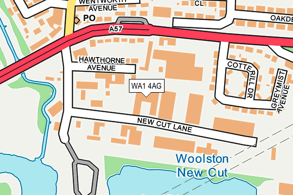 WA1 4AG map - OS OpenMap – Local (Ordnance Survey)