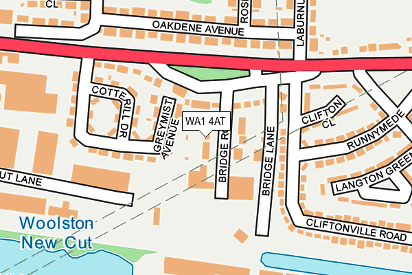 WA1 4AT map - OS OpenMap – Local (Ordnance Survey)