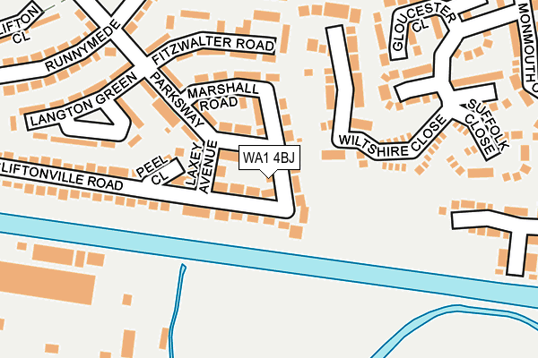 WA1 4BJ map - OS OpenMap – Local (Ordnance Survey)