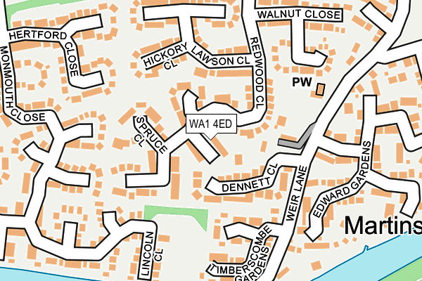 WA1 4ED map - OS OpenMap – Local (Ordnance Survey)