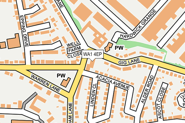 WA1 4EP map - OS OpenMap – Local (Ordnance Survey)