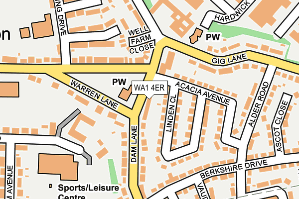 WA1 4ER map - OS OpenMap – Local (Ordnance Survey)