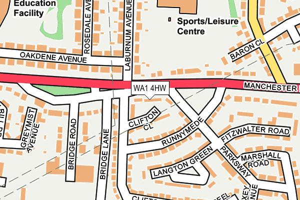 WA1 4HW map - OS OpenMap – Local (Ordnance Survey)
