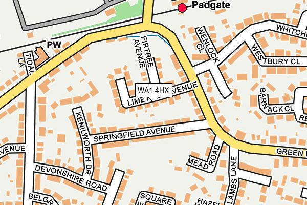 WA1 4HX map - OS OpenMap – Local (Ordnance Survey)