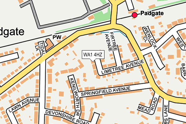 WA1 4HZ map - OS OpenMap – Local (Ordnance Survey)