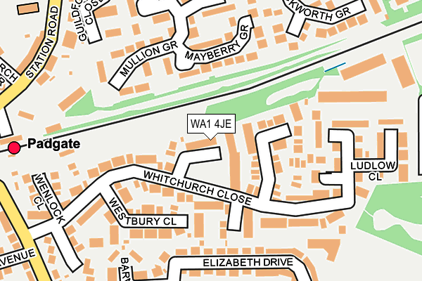 WA1 4JE map - OS OpenMap – Local (Ordnance Survey)