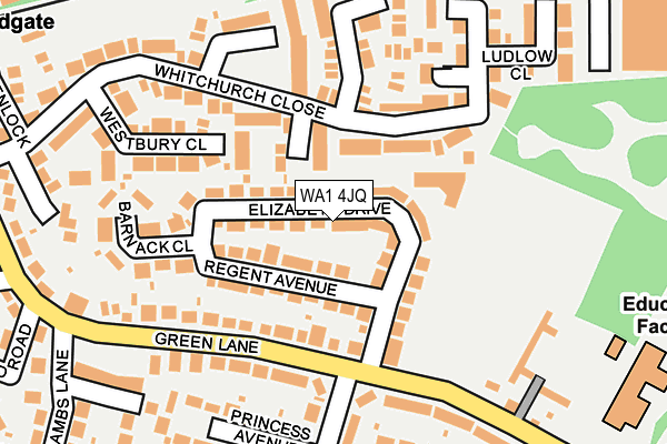 WA1 4JQ map - OS OpenMap – Local (Ordnance Survey)