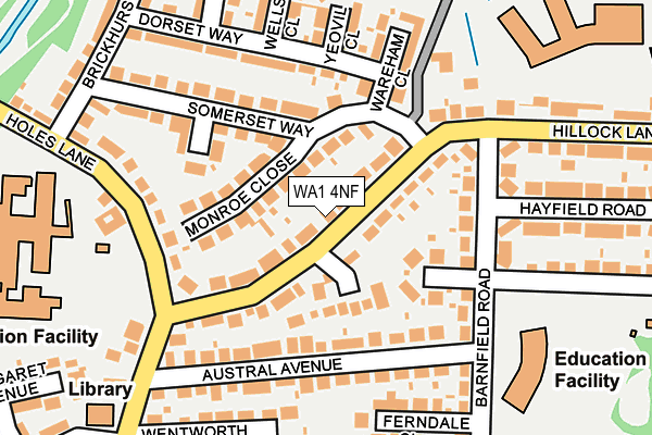 WA1 4NF map - OS OpenMap – Local (Ordnance Survey)