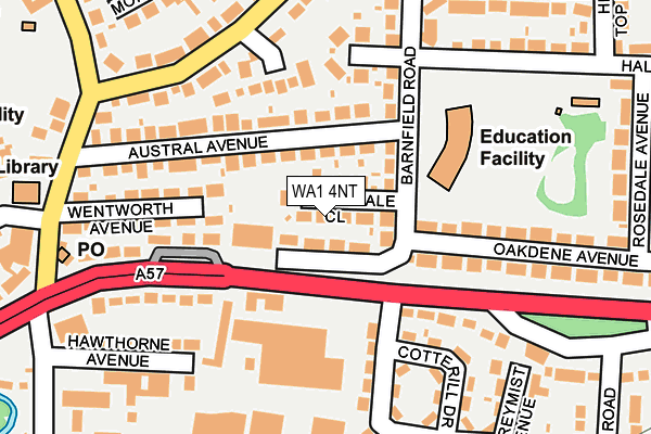 WA1 4NT map - OS OpenMap – Local (Ordnance Survey)